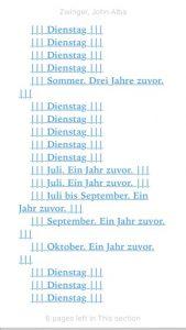 Inhaltsverzeichnis von John Albas Zwinger