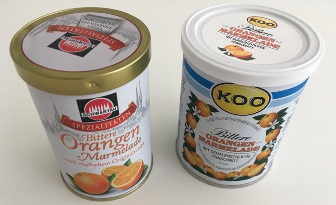 Orangenmarmeladen. Links mit Aludeckel, rechts mit Plastikdeckel